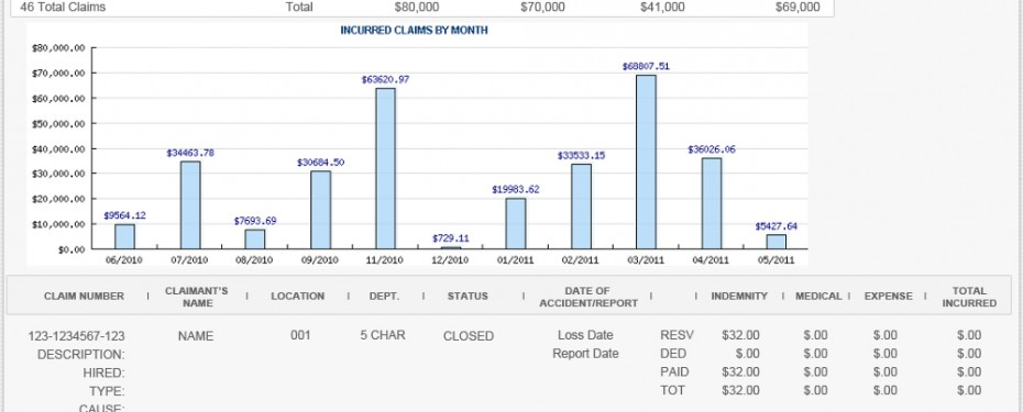 Workers Compensation Insurance Loss Run Report