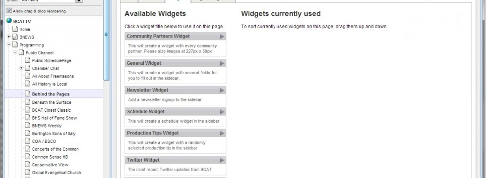 SilversStripe CMS Widget Tab - Add and Configure Widgets on a Page