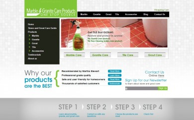 Marble Cleaning Products web site home page