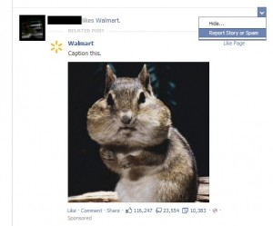 User Hiding Annoying Promoted Facebook Post from Walmart